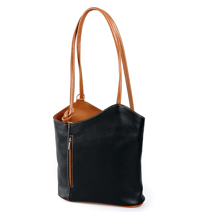 ital handtasche damen schulter tasche rucksack 2in1 schwarz cognac echt leder 4260291374921 ebay. Black Bedroom Furniture Sets. Home Design Ideas
